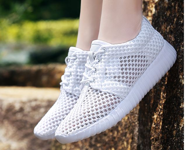 รองเท้าผ้าใบ ผู้หญิง สีขาว แบบเชือกผูก รองเท้า วัยรุ่น รองเท้าหุ้มส้น รุ่นระบายอากาศ รองเท้าใส่เที่ยว ใส่เดินทาง 465384_2