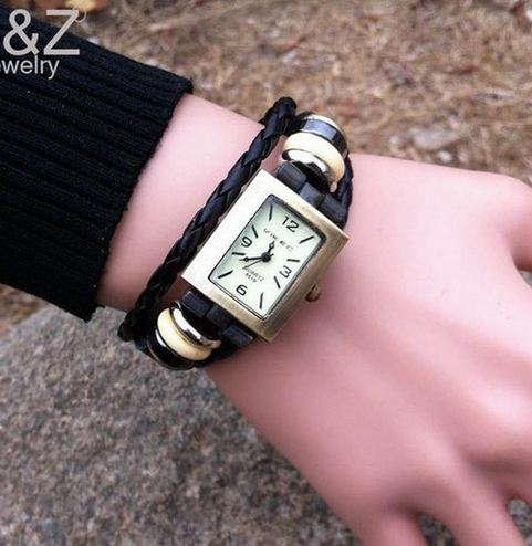 นาฬิกาข้อมือผู้หญิง นาฬิกาสายหนังแท้ หน้าปัด สี่เหลี่ยม คลาสสิค สไตล์วินเทจ สีดำ นาฬิกาสายหนังถัก ร้อยห่วงเงิน งาน Hand made 6090532_1