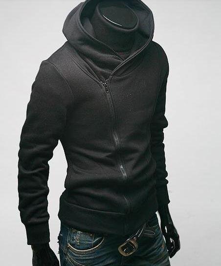 เสื้อกันหนาวผู้ชาย เสื้อคลุมผู้ชายแขนยาว ผ้า cotton อย่างหนา ใส่สบาย ดีไซน์คอตั้ง แบบเท่ สีดำ ราคาถูก 78737