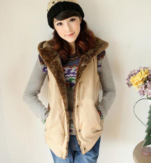 แจ็คเก็ต แบบมีฮู้ด เสื้อคลุม กันหนาว Jacket แขนกุด มีหมวก ด้านหลัง ด้านใน เป็นขนนุ่ม อุ่นมาก เสื้อกันหนาว ใส่เที่ยว ต่างประเทศ สวย ๆ 476426