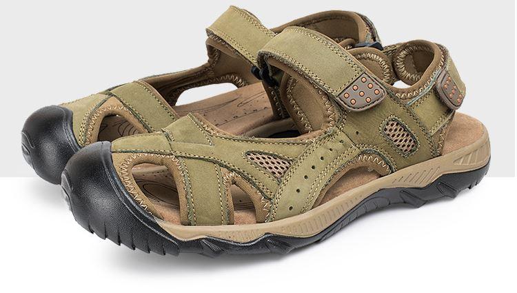 รองเท้าผู้ชาย รองเท้า แบบรัดส้น รองเท้า ใส่เที่ยว รองเท้าเดินทาง แบบเปิดหน้าเท้า ใส่สบาย มีสายรัดส้น รองเท้าหนังแท้ ดีไซน์ sport สีเขียว ใส่เดินทาง 977144
