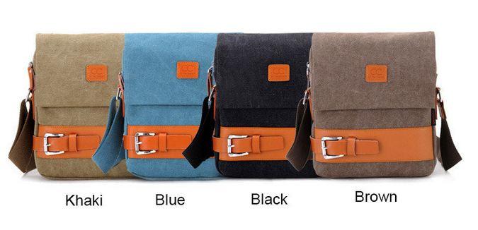 กระเป๋าสะพายข้าง กระเป๋าสะพายเฉียง ผู้ชาย ผ้าแคนวาส ผสม หนังแท้ ตัดลาย สีส้ม แต่งเข็มขัด กระเป๋าสะพายข้างแบบหรู แนวสปอร์ต เท่ ๆ 526546