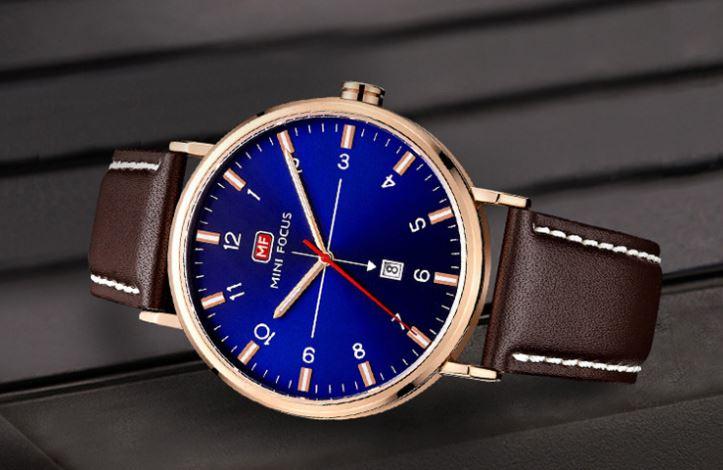 นาฬิกาข้อมือ ผู้ชาย นาฬิกาสายหนังแท้ นาฬิกา แบบมีระบบวันที่ หน้าปัด เรียบหรู คลาสสิค นาฬิกาข้อมือใส่ทำงาน เท่ อย่างมีสไตล์ 837730