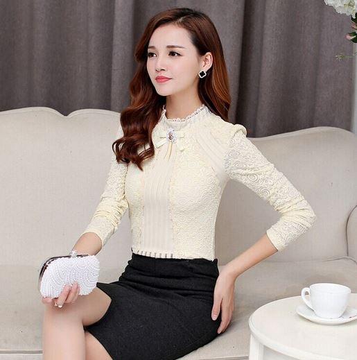 เสื้อผ้าลูกไม้ สีขาว เสื้อผู้หญิง ผ้าลูกไม้ แขนยาว แบบพอดีตัว เสื้อดีไซน์ ปิดคอ เสื้อลูกไม้ แฟชั่น เรียบร้อย ใส่ออกงาน สวยหรู 152613_1