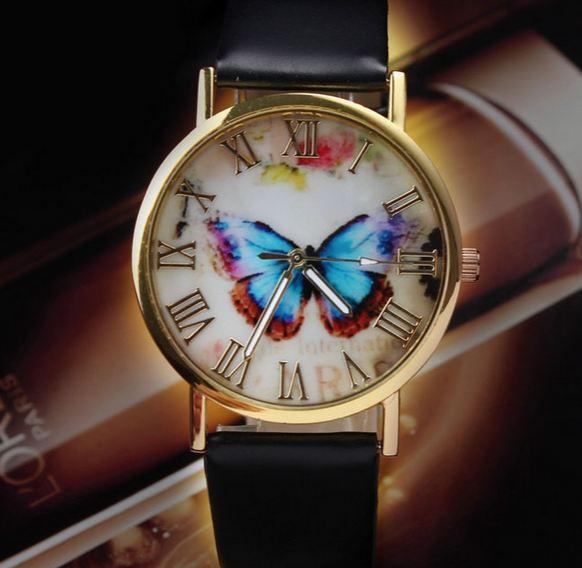 นาฬิกาข้อมือผู้หญิง นาฬิกาสายหนัง Pu หน้าปัดลาย ผีเสื้อ กรอบทอง สีดำ สไตล์วินเทจ สินค้าจัดโปรโมชั่น ลดราคาพิเศษ สุด ๆ 276267_2