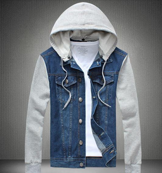 เสื้อ Jacket ยีนส์ แจ็คเก็ตยีนส์ ผู้ชาย แขนยาว ออกแบบ เป็น เสื้อกั๊กยีนส์ ผสม กับ ส่วนแขนเป็นผ้า Cotton มี หมวก ถอดเข้าออกได้ แบบเก๋ ไม่เหมือนใคร สียีนส์อ่อน 959829_1
