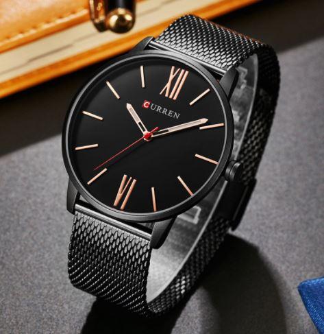 นาฬิกาข้อมือชาย สาย สแตนเลส แท้ นาฬิกาข้อมือ สายโซ่แบน แบบสวย แนวสปอร์ต นาฬิกาใส่ทำงาน แบบเท่ ๆ 973660