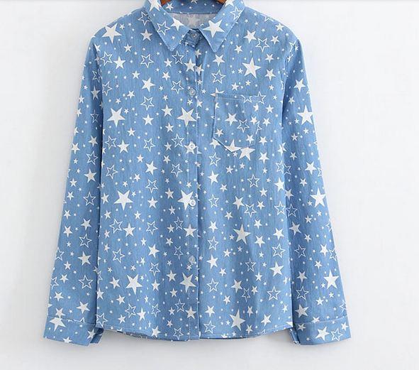 เสื้อเชิ้ตยีนส์ แขนยาว เสื้อยีนส์ แบบหวาน ๆ เท่ ๆ ลายเพ้นท์ ลายดาว น่ารัก เสื้อเชิ้ต แขนยาว สำหรับวัยรุ่น เสื้อยีนส์ สีฟ้า ใส่สบาย 566208_3