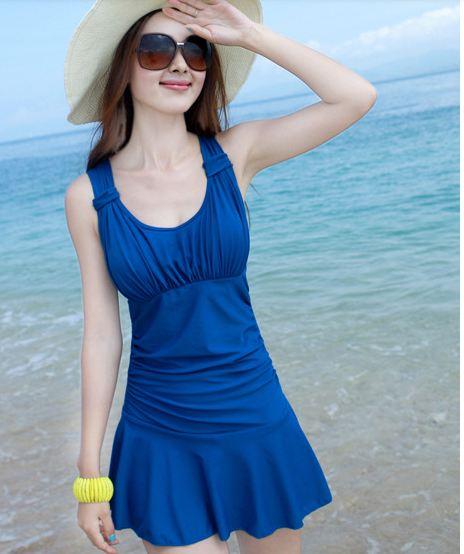 ชุดว่ายน้ำ วันพีช แบบกระโปรง ปกปิดต้นขา สวมใส่สบาย อย่างมั่นใจ สีน้ำเงิน no 888787_1