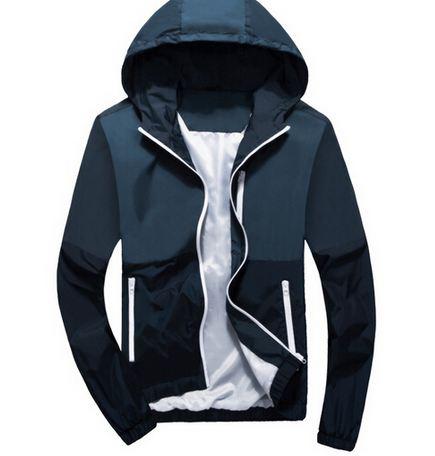 เสื้อแจ็คเก็ต ผู้ชายแขนยาว ผ้า Polyester เนื้อผ้า บางเบา เสื้อคลุม ใส่วิ่ง สีน้ำเงิน กรมท่า เสื้อหมวก มีฮู้ด ใส่สบาย กันลม กันแดด 220418