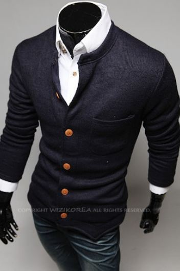 เสื้อกันหนาวผู้ชาย เสื้อคลุมผู้ชายแขน 3 ส่วน เสื้อ Jacket แบบสูท สไตล์ ยุโรป กระดุมหน้า มีกระเป๋าเสื้อ ด้านหน้า สีน้ำเงินกรมท่า no 825908