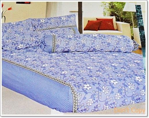 ผ้าปูที่นอน 6 ฟุต 5 ชิ้น สีฟ้า ลายดอก