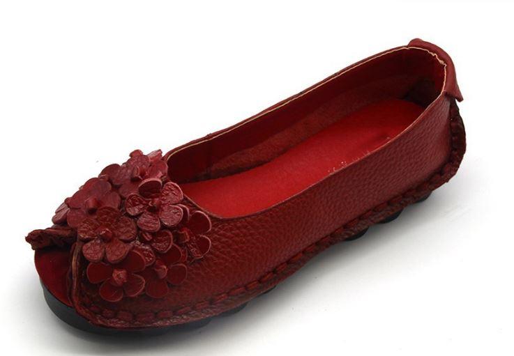 รองเท้าหุ้มส้น ผู้หญิง รองเท้าหนังแท้ รองเท้าผ้าใบหนังแท้ สีแดง สาวเปรี้ยว สาวมั่นใจ ลายดอกไม้ เก๋ ๆ ด้านหน้า รองเท้าหนังนิ่ม ใส่สบาย 727672_5