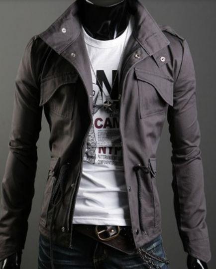 เสื้อกันหนาวผู้ชาย เสื้อคลุมผู้ชายแขนยาว สไตล์ แจ็คเก็ตยีนส์ สไตล์ คาวบอย Jacket สีเทา คอเปิด ซิปด้านหน้า กระดุมปิดทับ 681726_2