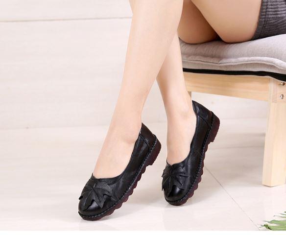 รองเท้าหุ้มส้น ผู้หญิง รองเท้าหนังวัวแท้ รองเท้าคัทชู สวย ๆ แต่งลายใบไม้ ธรรมชาติ วินเทจ รองเท้ายืดหยุ่นสูง 583409