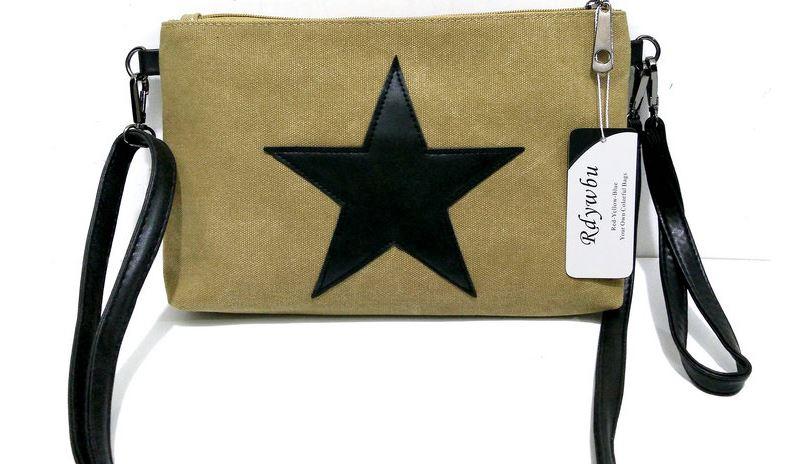 กระเป๋าสะพายข้าง กระเป๋าผ้าแคนวาส ใส่เครื่องสำอางค์ กระเป๋าสตางค์ โทรศัพท์มือถือ logo ดาวด้านหน้า 566553