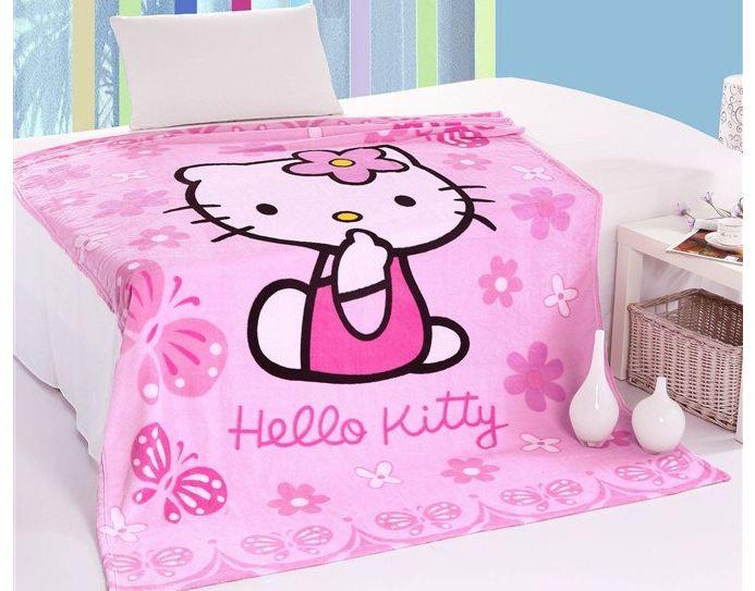 ผ้าห่มกำมะหยี่ เนื้อนุ่ม Hello Kitty สีชมพู