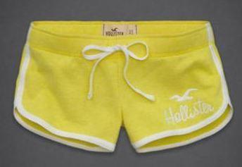 กางเกงขาสั้น กางเกงฟิตเนส กางเกงโยคะ Hollister กางเกงผู้หญิง ขาสั้น สีเหลือง ขอบขาว no 93812_6