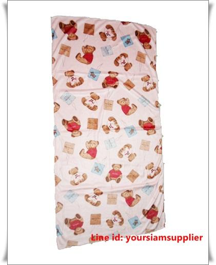ผ้าเช็ดตัว ผ้าขนหนู ไมโครไฟเบอร์ นุ่ม เช็ดน้ำได้ดี ผืนใหญ่ 5 ฟุต ลายหมี สีชมพู
