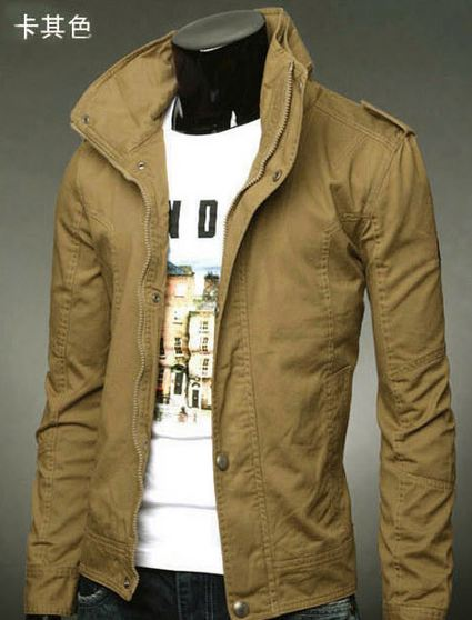 เสื้อกันหนาวผู้ชาย เสื้อคลุมผู้ชายแขนยาว สไตล์ แจ็คเก็ตยีนส์ สไตล์ คาวบอย Jacket สีกากี แบบเท่ ราคาถูก no 387798_3