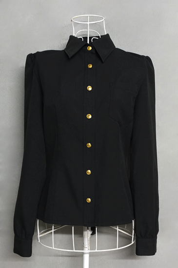 เสื้อเชิ้ตแขนยาวสีดำกระดุมทอง