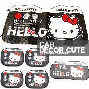 ( ลด 15 % ) HELLO KITTY - ชุดแผ่นบังแดดรถยนต์