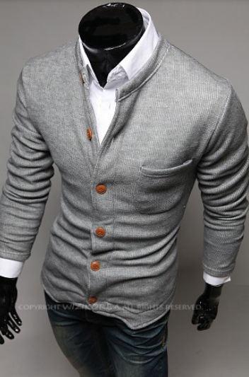 เสื้อกันหนาวผู้ชาย เสื้อคลุมผู้ชายแขน 3 ส่วน เสื้อ Jacket แบบสูท สไตล์ ยุโรป กระดุมหน้า มีกระเป๋าเสื้อ ด้านหน้า สีเทาอ่อน no 825908_3