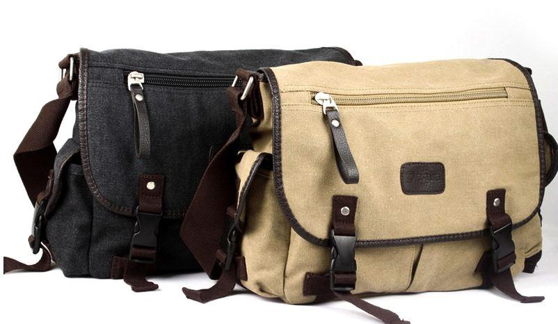 กระเป๋าผ้าแคนวาส กระเป๋าสะพายข้าง ผู้ชาย กระเป๋ายีนส์ เท่ ๆ สีเบจ และ สีเบจ และ สีดำ สินค้าลดราคา กระเป๋าถือ ใบใหญ่ ใส่นิตรสาร Ipad ได้ 423109