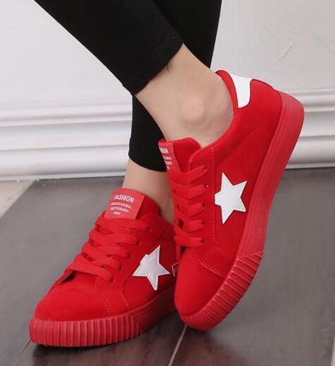 รองเท้าผ้าใบ ผู้หญิง รองเท้า วัยรุ่น รองเท้าหุ้มส้น สีแดง สาวเปรี้ยว มั่นใจ ตัดกับ ดาวสีขาว สุดเท่ รองเท้าใส่เที่ยว ออกกำลังกาย แบบสปอร์ต 131001_3