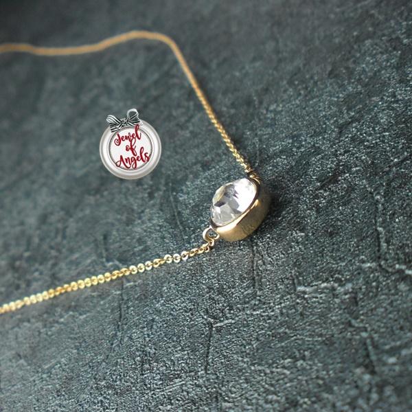 สร้อยคอชุบทองพิงค์โกลด์18Kจี้คริสตัลกลม