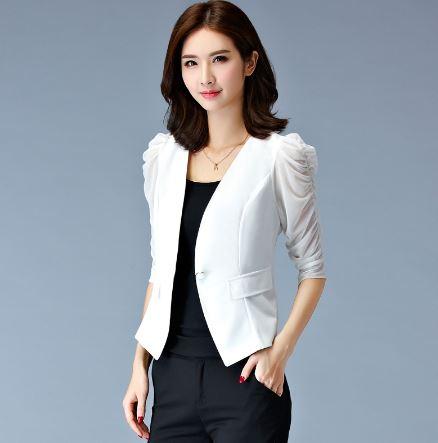 เสื้อสูท เสื้อแจ็คเก็ต เสื้อคลุม แบบสูท สูทผู้หญิง แขนยาว สูทสั้น เข้ารูป แบบพอดีตัว สีขาว ดีไซน์ แขนขยุม แขนตุ๊กตา สูทใส่ทำงาน สีขาว 943057