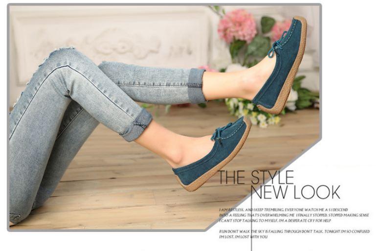 รองเท้าผู้หญิง หุ้มส้น ส้นแบน รองเท้าหนังแท้ ผู้หญิง รองเท้าคัทชู ใส่สบาย ดีไซน์ หนังแท้ มีเชือกผูก ใส่ทำงาน ใส่เที่ยว สีน้ำเงิน กรมท่า 40782_2