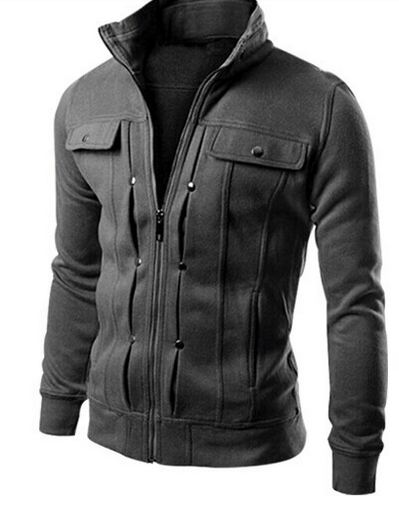เสื้อ แจ็คเก็ต ผู้ชาย เสื้อแขนยาว เสื้อคลุม สีเทาเข้ม ผ้าคอตต้อน ดีไซน์ ตีลายเส้น มีกระเป๋า บนหน้า 2 ข้าง เสื้อ Jacket ซิปหน้า แบบสวย 833858_1