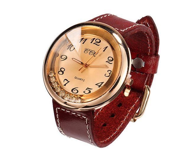 นาฬิกาข้อมือผู้หญิง นาฬิกา สายหนังแท้ เส้นใหญ่ นาฬิกา สำหรับคนแพ้ โลหะ หน้าปัดสีทอง ใส่เพชรด้านใน เพิ่ม ความหรูหรา มีสไตล์ 783611