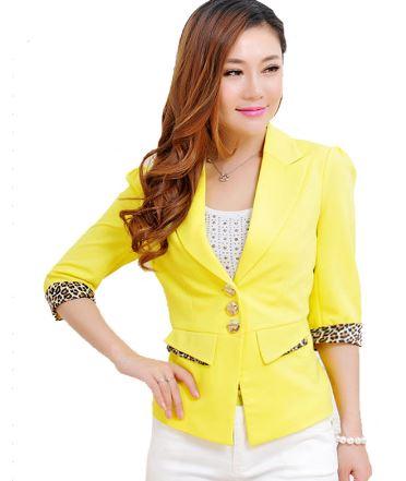 เสื้อสูท เสื้อแจ็คเก็ต เสื้อคลุม แบบสูท สูทผู้หญิง แขนยาว สีลูกกวาด สีเหลือง ม่วง ขาว ชมพู ดีไซน์ แขนพับ เป็น ลายเสือ สูท กระดุมหน้า แบบมีกระเป๋า 438904