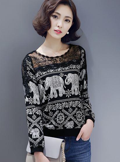 เสื้อแฟชั่น เสื้อผู้หญิง แขนยาว สีดำ ลายช้าง แบบไทย ๆ เสื้อ ยืดแขนยาว ผสม ผ้าลูกไม้ ซีทรู ช่วงคอ เสื้อสีดำ ใส่เที่ยวเก๋ ๆ 719851