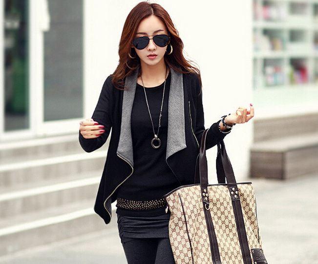 เสื้อ Jacket เสื้อคลุมผู้หญิง แขนยาว ดีไซน์ 2 สี ด้านนอกดำ ด้านใน เทา เสื้อ jacket แบบมี ดีไซน์ ซิปด้านหน้า ปิด ทำเป็น เสื้อยืดได้ แบบสวยมากค่ะ 397005