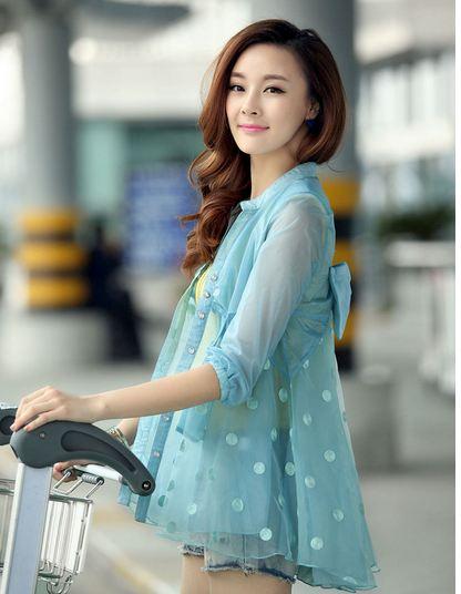 เสื้อคลุม เสื้อ Jacket ผู้หญิง ผ้าซีทรู กระโปรง ลายจุด สีฟ้าน้ำทะเล เสื้อแจ็คเก็ต ตัวยาว สามารถใส่ คลุม เป็น ชุดเดรส สไตล์ สาวหวาน 463462
