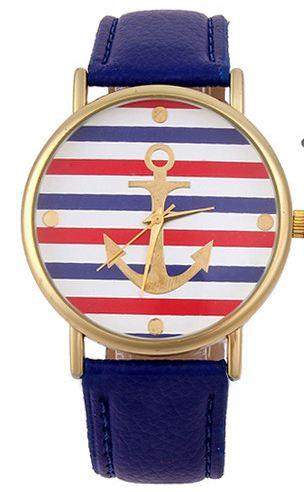 นาฬิกาข้อมือ ผู้หญิง สายหนังแท้ นาฬิกาข้อมือแฟชั่น หน้าปัด ลาย สมอเรือ สำหรับใส่เที่ยว ทะเล ใส่กับชุดเดรส เก๋ ๆ สีดำ ขาว แดง น้ำเงิน 734841