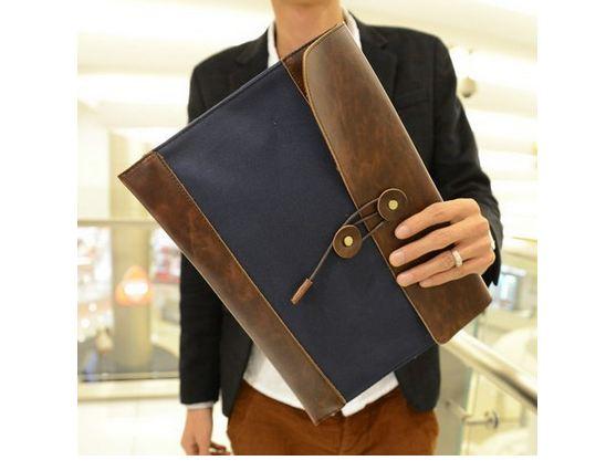 กระเป๋าถือ กระเป๋าใส่เอกสาร ดีไซน์ ผสมผสาน กับหนังแท้ คลาสสิค เพิ่มความหรูหรา ลายหนัง รอบกระเป๋า ใช้งานทนทาน สีดำ น้ำตาล น้ำเงิน 635307