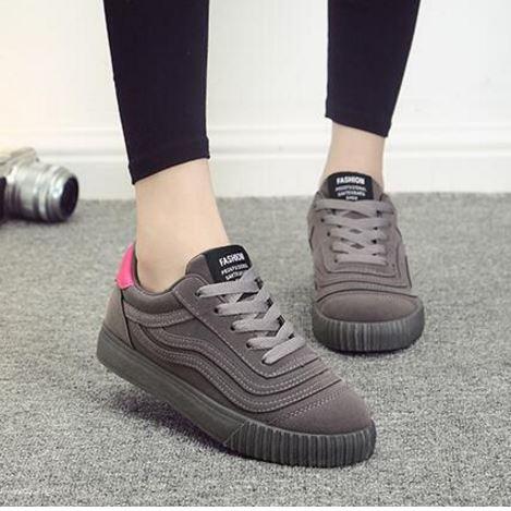 รองเท้าผ้าใบ ผู้หญิง แบบเชือกผูก รองเท้า วัยรุ่น รองเท้าหุ้มส้น สีเทา สีหายาก ลายเส้น รองเท้าใส่เที่ยว ออกกำลังกาย แบบสปอร์ต 131001_6