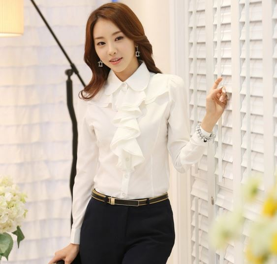 เสื้อแฟชั่น เสื้อผู้หญิง ใส่ทำงาน เสื้อเชิ้ต สีขาว ใส่ทำงาน ออฟฟิต แบบมีระบาย พู่ที่คอ เสื้อใส่ทำงาน สีขาว สวย ๆ แขนยาว มีดีไซน์ 218326_1