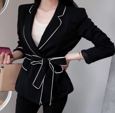 เสื้อสูท เสื้อแจ็คเก็ต เสื้อคลุม แขนยาว เสื้อสูท สีดำ ตัดขอบขาว แต่งโบว์ที่เอว เสื้อสูท ใส่ออกงาน ทำงาน สวยหรู ไฮโซ 232708