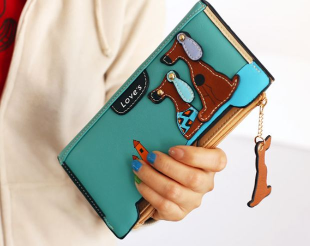 กระเป๋าสตางค์ผู้หญิง กระเป๋าสตางค์ใบยาว ดีไซน์ใหม่ แต่งโลโก้ กระเป๋า 3 มิติ ลายสุนัข ทรงสี่เหลี่ยม ใส่บัตรได้เยอะ สีเขียวอมฟ้า น้ำทะเล 560339_5