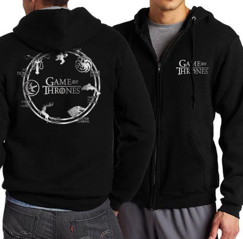 เสื้อ แจ็คเก็ต ผู้ชาย Jacket แบบมีฮู้ด เสื้อคลุมมีหมวก สีดำ ลาย วงกลม Game of Thrones เสื้อแจ็คเก็ต ไซต์ใหญ่ 487965