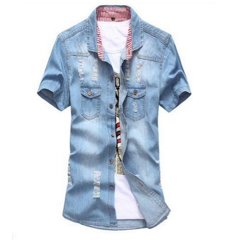 เสื้อ Jacket ยีนส์ แจ็คเก็ตยีนส์ ผู้ชาย แขนสั้น สียีนส์ ฟ้าอ่อน แบบ Slim fit ตัวยาว ยีนส์ฟอก ดีไซน์สวย มีกระเป๋าหน้า คู่ แต่งลาย 212166