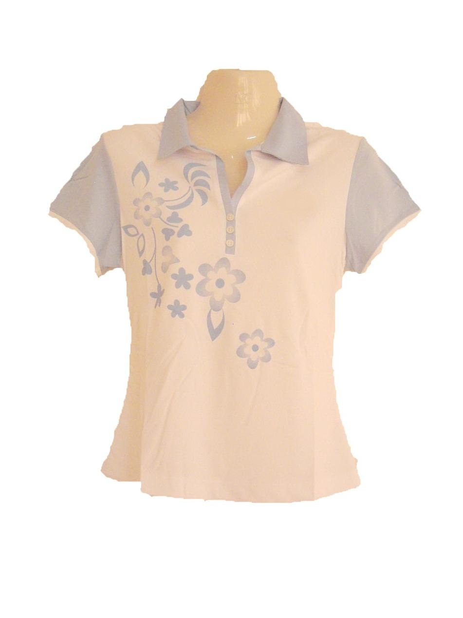 เสื้อเชิ้ต เสื้อคอปก ผู้หญิง เสื้อแขนสั้น สีขาว Size L เพ้นท์ลายดอกไม้ สีฟ้าอ่อน ใส่เล่นกีฬา ใส่วิ่ง ใส่ออกกำลังกาย sa146
