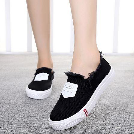 รองเท้าผ้าใบ ผู้หญิง รองเท้า วัยรุ่น สไตล์วินเทจ แบบเซอร์ เซอร์ สีดำ เท่ ๆ แต่ง ขุย ตรงข้อเท้า รองเท้าใส่เที่ยว แนวสปอร์ต 670068_2