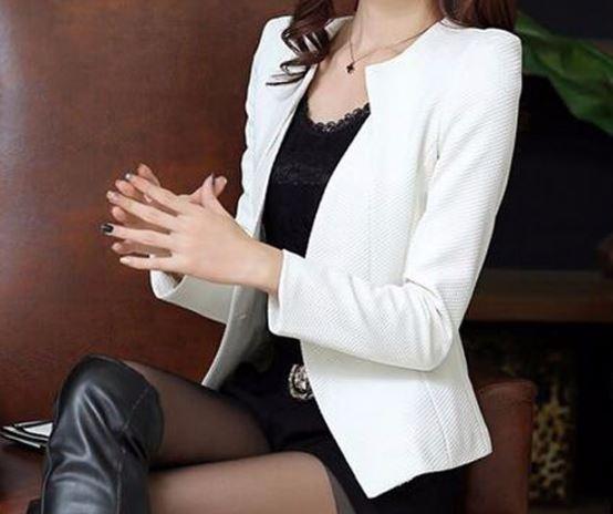 เสื้อสูท เสื้อแจ็คเก็ต เสื้อคลุม แบบสูท สูทผู้หญิง แขนยาว สีขาว ใส่ออกงาน ทำงาน สูทผู้หญิง แบบมีดีไซน์ ที่ปก มีกระเป๋า 2 ข้าง 708280_3