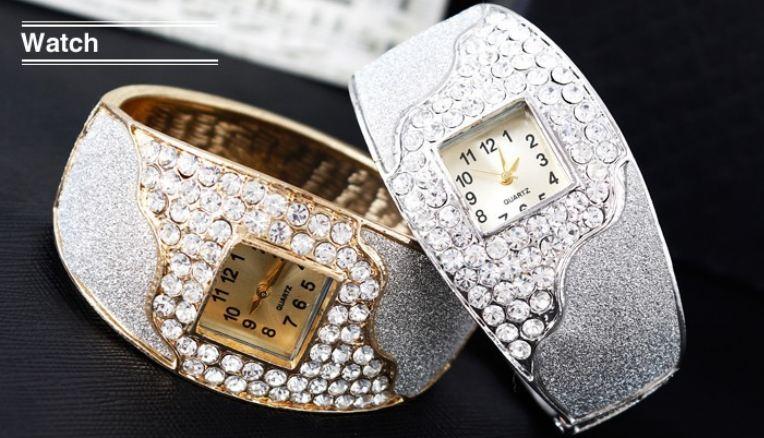 นาฬิกาข้อมือ ผู้หญิง แบบ กำไลข้อมือ นาฬิกา ฝังเพชร CZ คริสตัล ออสเตเรียสุดหรู พ่นทราย สีเงิน และ สีทอง ใส่ออกงาน ราตรี เข้ากับ ชุดหรู 251730